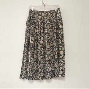 Vintage pleated crepe midi skirt